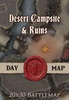Seafoot Games - Desert Campsite & Ruins | 20x30 Battlemap