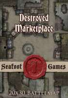Seafoot Games - Destroyed Marketplace | 20x30 Battlemap