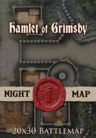 Seafoot Games - Hamlet of Grimsby, Night | 20x30 Battlemap
