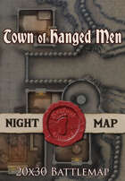 Seafoot Games - Town of Hanged Men (Night) | 20x30 Battlemap