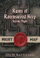Seafoot Games - Ruins of Ravenswood Keep Stormy Night | 20x30 Battlemap