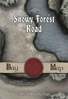 30x20 Battlemap - Snowy Forest Road