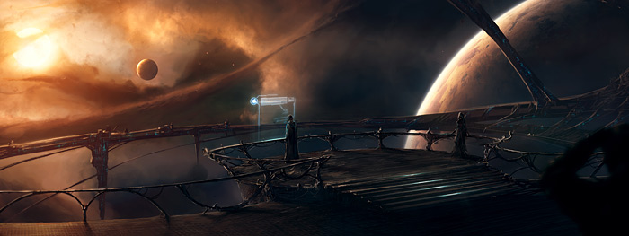 Art from Archives of the Sky, showing interstellar travelers at the bridge of a starship.