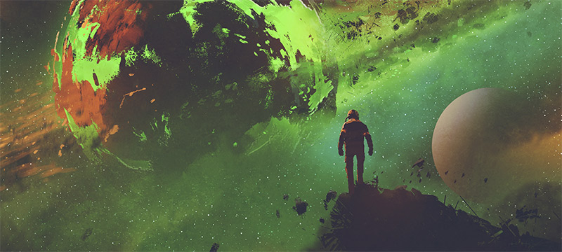 Astronaut silhouetted against a weird green planet.