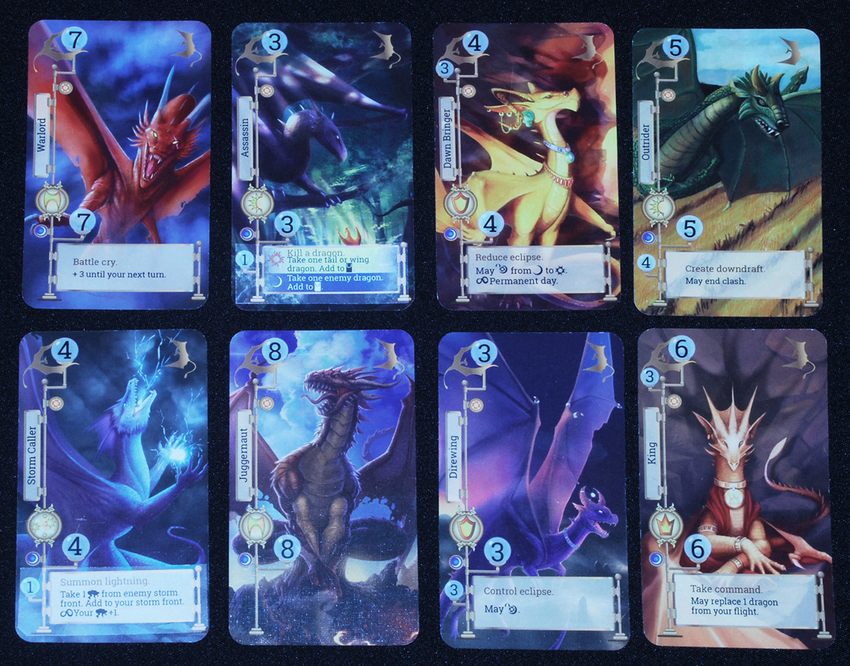 Sample cards from Storm Dragons: Warlord, Assassin, Dawnbringer, Outrider, Storm Caller, Juggernaut, Direwing, and King