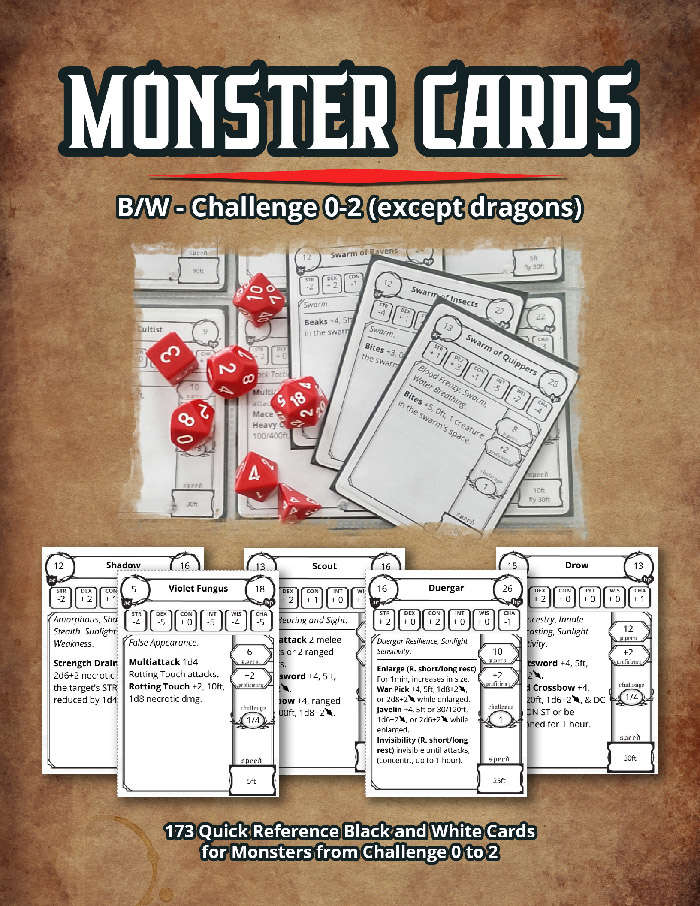 This is a photo of Printable Monster Cards 5e intended for character sheet
