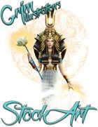 Basic Fantasy Stock Art - Egyptian Goddess (three-quarter body)