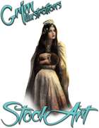 Basic Fantasy Stock Art - Elven Queen (seated with baby)