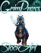 Basic Fantasy Stock Art - Frost Samurai (with mount)