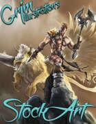 Premium Fantasy Stock Art - Barbarian & Griffin