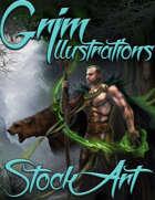 Premium Fantasy Stock Art - Druid #1 (male with bear)