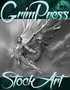 Free Fantasy Stock Art - Angel (black & white)