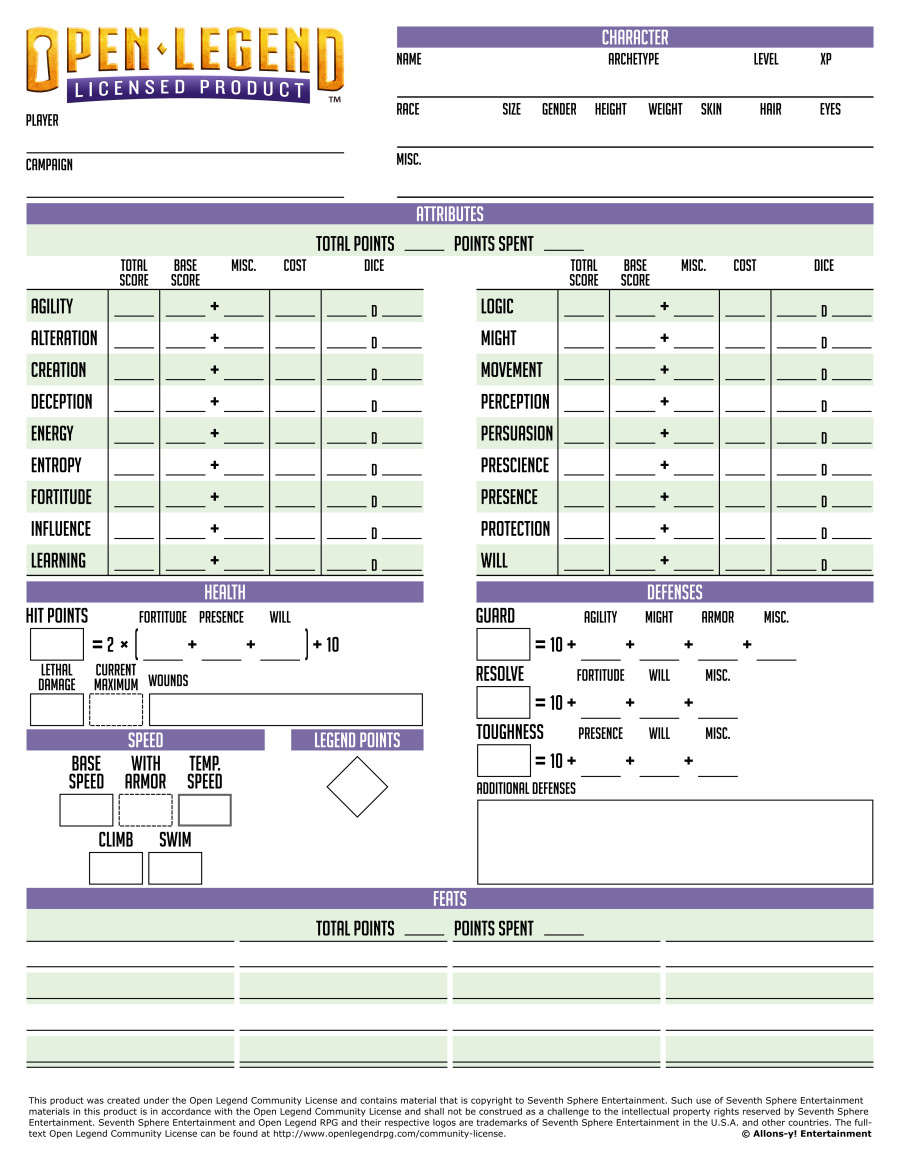 photo regarding Pathfinder Printable Character Sheet referred to as Open up Legend Printable Personality Sheet - Allons-y