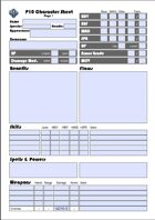 Power of 10 (P10) - Character sheet FORM-FILLABLE PDF