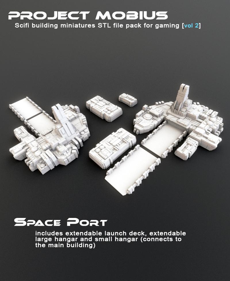 6mm War Game Terrain Large Sci-Fi Hangar