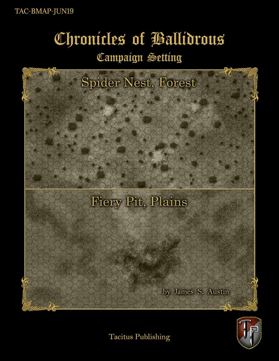 Chronicles of Ballidrous - Battle Maps - Spider Nest, Forest & Fiery Pit, Plains