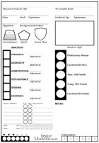 Into the Unknown - Character Sheets