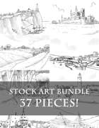 37 Pieces! - Sketch Stock Art Bundle - Towns, Cities, Ports, Lighthouses, Caves, Farms, Villages, and more!