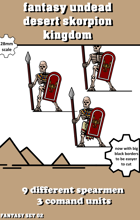 fantasy desert kingdom undead spearmen