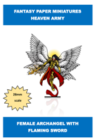 fantasy heaven army female archangel angel flaming sword