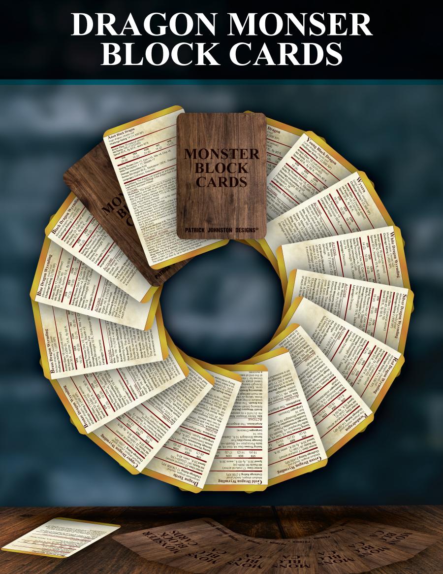 5e SRD Dragon Block Cards - Patrick Mitchell Johnston | DriveThruRPG com