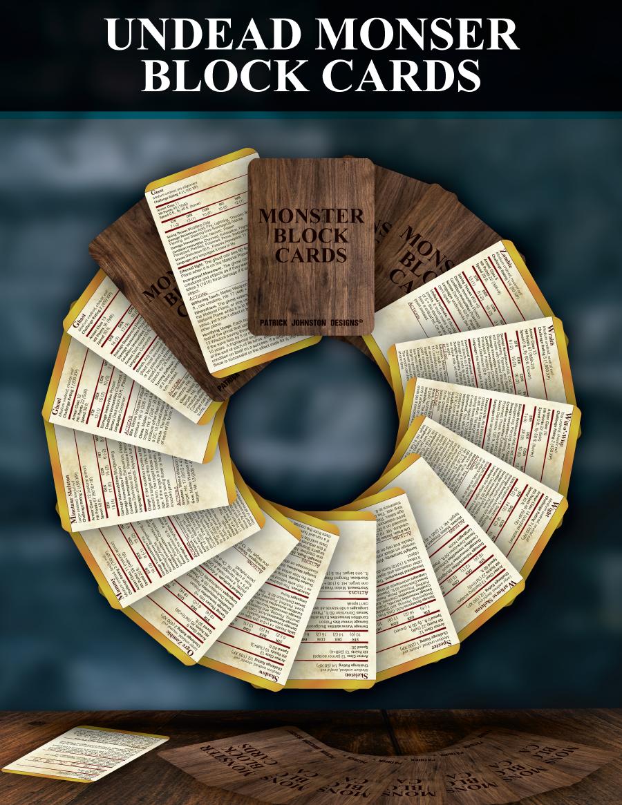 5e SRD Undead Block Cards - Patrick Mitchell Johnston | DriveThruRPG com