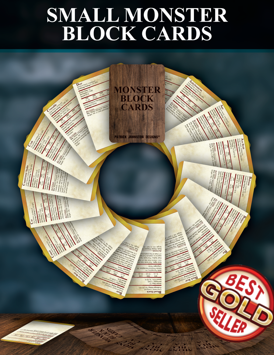Small Monster Block Cards - Patrick Mitchell Johnston | Dungeon Masters  Guild