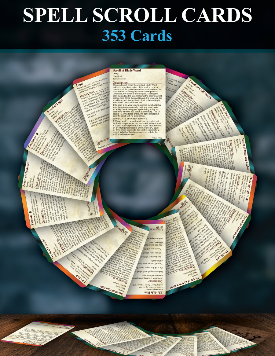 5e Spell Scroll Cards Patrick Mitchell Johnston Drivethrurpg Com All other spells can be found in part 3, chapter 11 of the player's handbook. usd