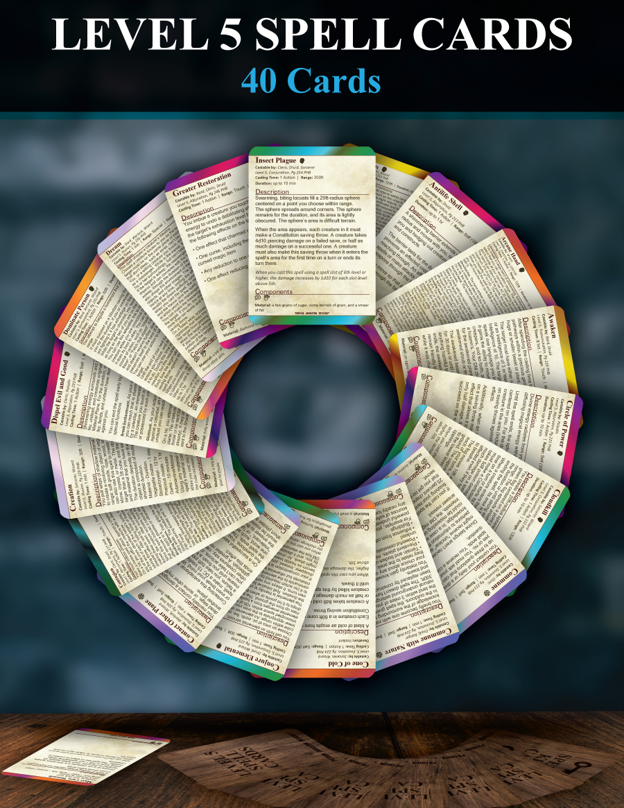 5e Level 5 Spell Cards - Patrick Mitchell Johnston   DriveThruRPG com