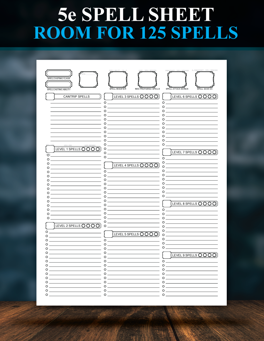 It's just an image of Enterprising D&d 5e Spell Sheet Printable