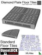 OpenLOCK Floor Tiles - Diamond Plate Single Oblique Pattern (Coarse) (STL Files)