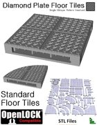 OpenLOCK Floor Tiles - Diamond Plate Single Oblique Pattern (Medium) (STL Files)