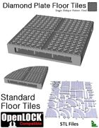 OpenLOCK Floor Tiles - Diamond Plate Single Oblique Pattern (Fine) (STL Files)