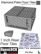 OpenLOCK 1 inch Riser Tiles - Diamond Plate Single Oblique Pattern (Medium) (STL Files)