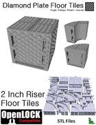 OpenLOCK 2 inch Riser Tiles - Diamond Plate Single Oblique Pattern (Coarse) (STL Files)