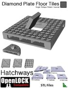 OpenLOCK Hatchway Tiles - Diamond Plate Single Oblique Pattern (Coarse) (STL Files)