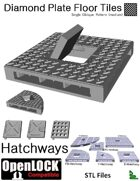 OpenLOCK Hatchway Tiles - Diamond Plate Single Oblique Pattern (Medium) (STL Files)