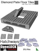 OpenLOCK Hatchway Tiles - Diamond Plate Single Oblique Pattern (Fine) (STL Files)