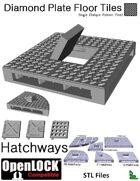 OpenLOCK Hatchway Tiles - Diamond Plate Single Oblique Pattern (Fine) (STL Files)