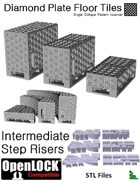 OpenLOCK Step Riser Tiles - Diamond Plate Single Oblique Pattern (Coarse) (STL Files)