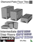 OpenLOCK Step Riser Tiles - Diamond Plate Single Oblique Pattern (Medium) (STL Files)