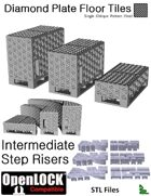 OpenLOCK Step Riser Tiles - Diamond Plate Single Oblique Pattern (Fine) (STL Files)