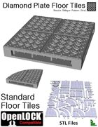 OpenLOCK Floor Tiles - Diamond Plate Double Oblique Pattern (Fine) (STL Files)