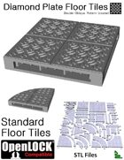 OpenLOCK Floor Tiles - Diamond Plate Double Oblique Pattern (Coarse) (STL Files)