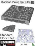 OpenLOCK Floor Tiles - Diamond Plate Double Oblique Pattern (Coarse) (STL Files)