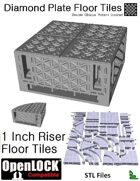 OpenLOCK 1 inch Riser Tiles - Diamond Plate Double Oblique Pattern (Coarse) (STL Files)
