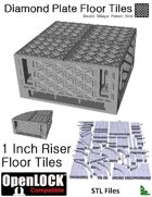 OpenLOCK 1 inch Riser Tiles - Diamond Plate Double Oblique Pattern (Fine) (STL Files)
