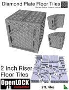 OpenLOCK 2 inch Riser Tiles - Diamond Plate Double Oblique Pattern (Coarse) (STL Files)