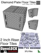 OpenLOCK 2 inch Riser Tiles - Diamond Plate Double Oblique Pattern (Fine) (STL Files)