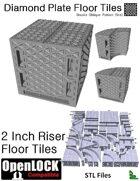 OpenLOCK 2 inch Riser Tiles - Diamond Plate Double Oblique Pattern (Fine) (STL Files)